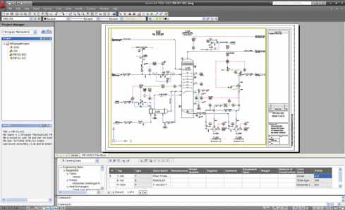 Química e Derivados, Fluxograma de processo construído com o AutoCAD P&ID, Automação Industrial
